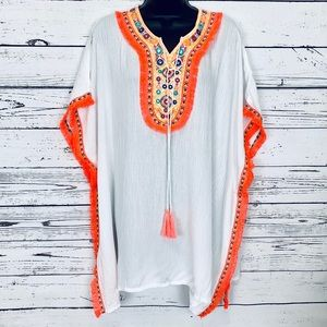 White swim coverup Bright orange fringe trim